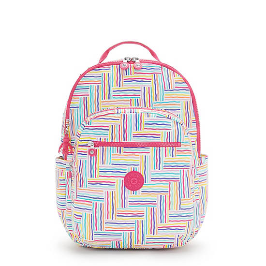 """Seoul Extra Large Printed 17"""" Laptop Backpack, Candy Lines, large"""