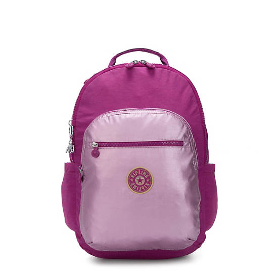 """Seoul Large Metallic 15"""" Laptop Backpack, Bright Pink Metallic Block, large"""
