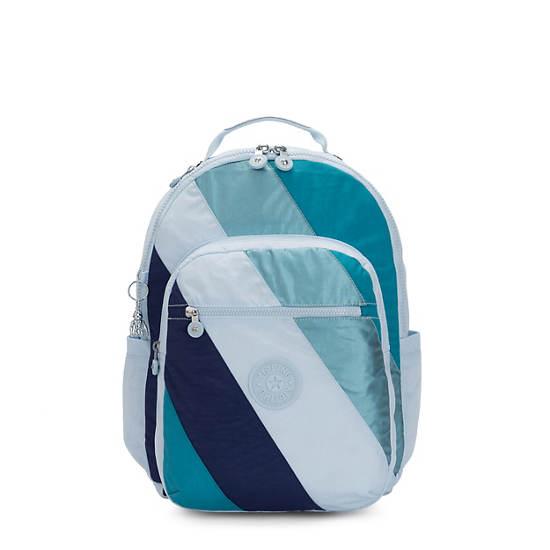 "Seoul Large 15"" Laptop Backpack,Blue Mix Block,large"
