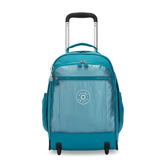 Gaze Large Metallic Rolling Backpack,Turquoise Sea Metallic Block,large