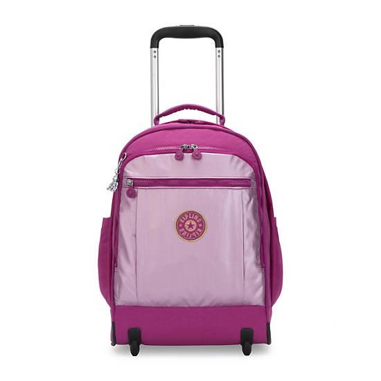 Gaze Large Metallic Rolling Backpack, Bright Pink Metallic Block, large