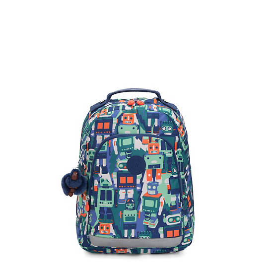 """Class Room Small 13"""" Printed Laptop Backpack,Robot Camo Blue,large"""