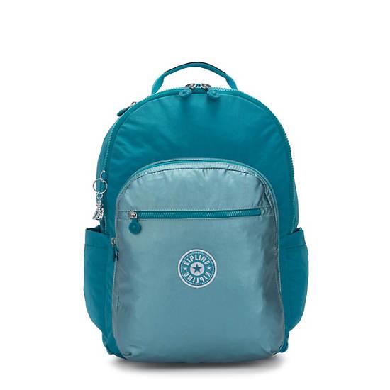 """Seoul Extra Large Metallic 17"""" Laptop Backpack,Turquoise Sea Metallic Block,large"""