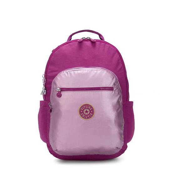 """Seoul Extra Large 17"""" Metallic Laptop Backpack, Bright Pink Metallic Block, large"""
