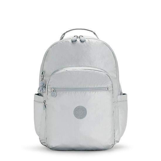 """Seoul Large Metallic 15"""" Laptop Backpack, Bright Silver Metallic, large"""