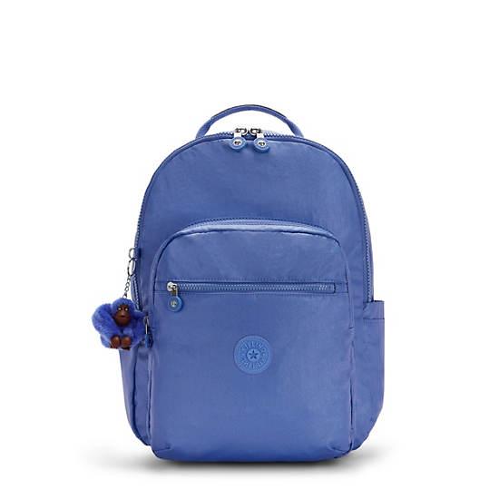 "Seoul Large Metallic 15"" Laptop Backpack, Frost Blue Mettallic, large"