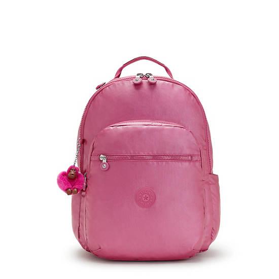 """Seoul Large Metallic 15"""" Laptop Backpack, Metallic Pink, large"""