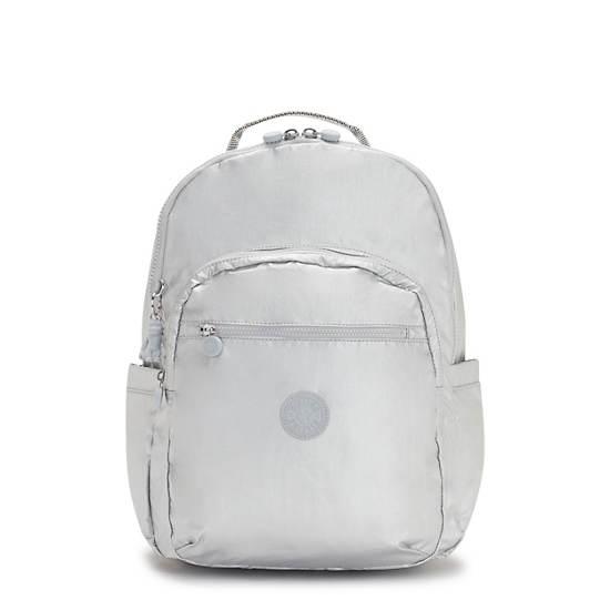 "Seoul Extra Large Metallic 17"" Laptop Backpack, Bright Silver Metallic, large"