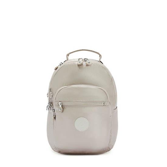 Seoul Small Metallic Tablet Backpack, Metallic Glow, large