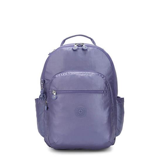 """Seoul Large Metallic 15"""" Laptop Backpack,Metallic Purple,large"""