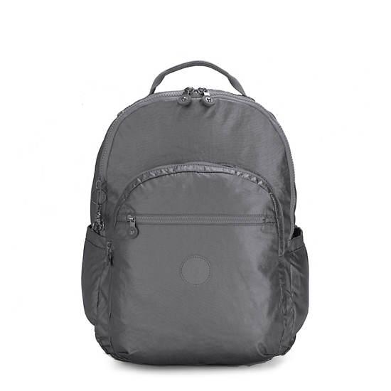 """Seoul Extra Large 17"""" Laptop Metallic Backpack,Steel Grey Metal,large"""