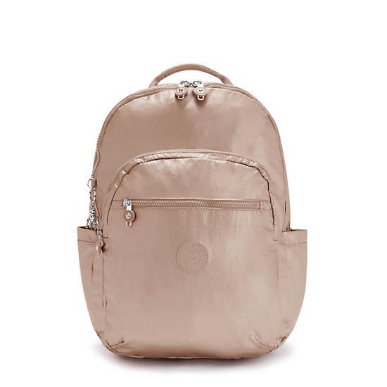 """Seoul Extra Large Metallic 17"""" Laptop Backpack, Rose Gold Metallic, large"""