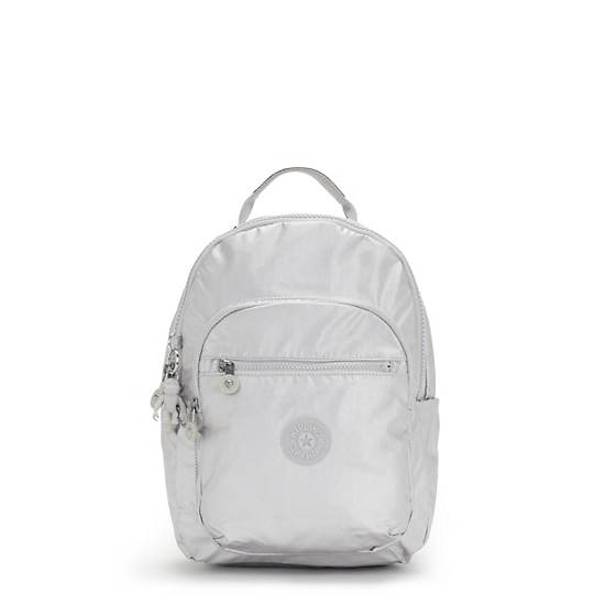 Seoul Small Metallic Tablet Backpack, Bright Silver, large