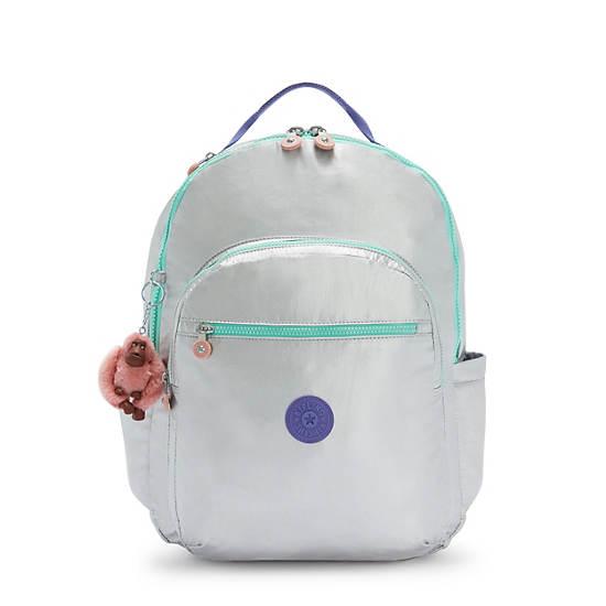 """Seoul Extra Large Metallic 17"""" Laptop Backpack,Polished Grey Block,large"""