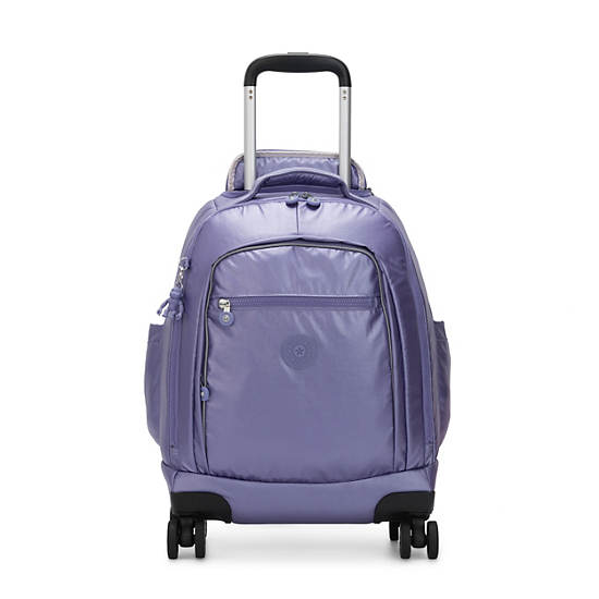 "Zea Metallic 15"" Laptop Rolling Backpack, Metallic Purple, large"