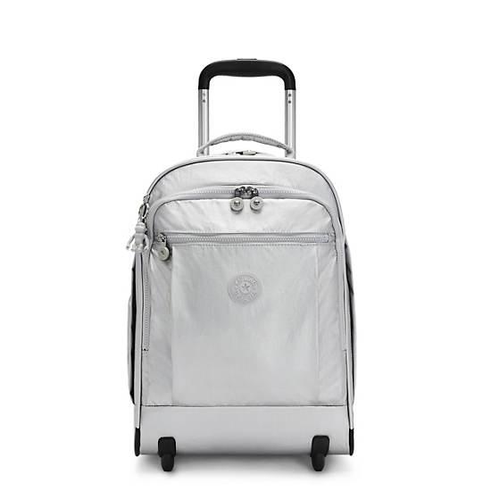 Gaze Large Metallic Rolling Backpack, Bright Silver, large