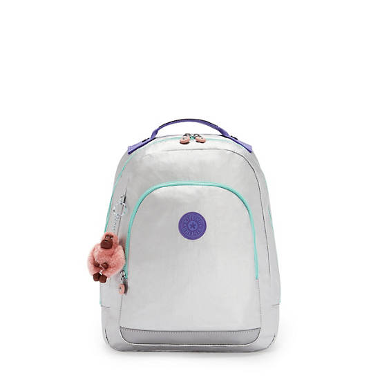 """Class Room Small Metallic 13"""" Laptop Backpack, Polished Grey Block, large"""