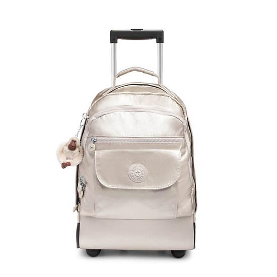 Sanaa Large Metallic Rolling Backpack,Cloud Metallic,large