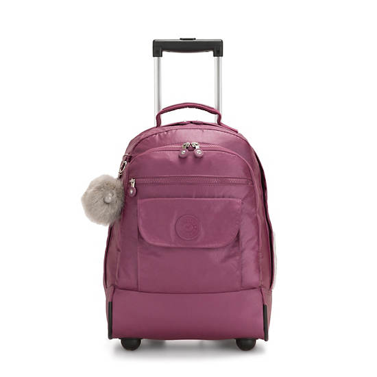Sanaa Large Metallic Rolling Backpack,Fig Purple Metallic,large