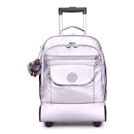 Sanaa Metallic Rolling Backpack,Frosted Lilac Metallic,large