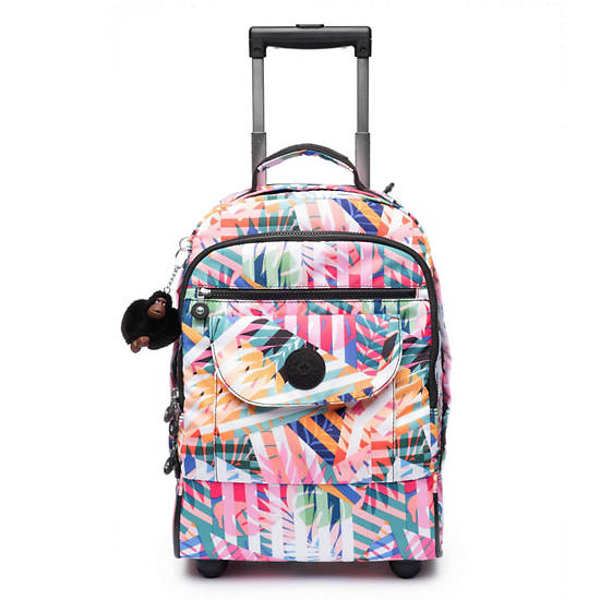 Sanaa Large Printed Rolling Backpack,Patchwork Garden,large