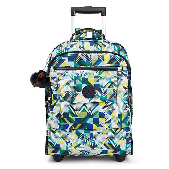 Sanaa Large Printed Rolling Backpack,Sonic Lines,large