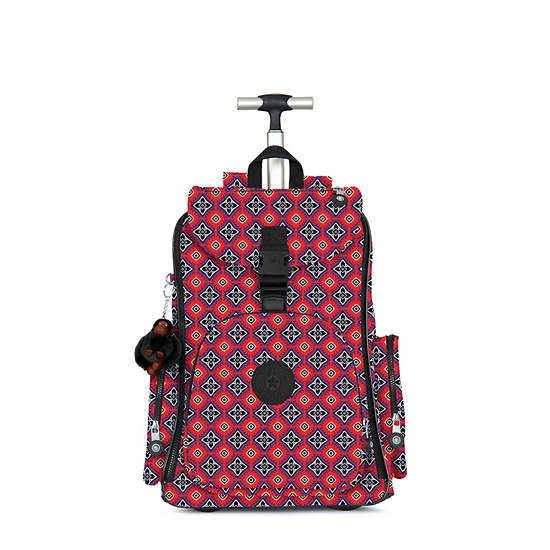 Alcatraz II Printed Rolling Laptop Backpack,Mystical Medallion Orange,large