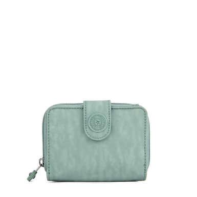 New Money Small Credit Card Wallet - Fern Green Tonal Zipper