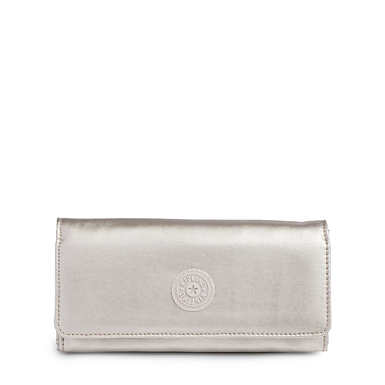 New Teddi Metallic Snap Wallet - Cloud Grey Metallic