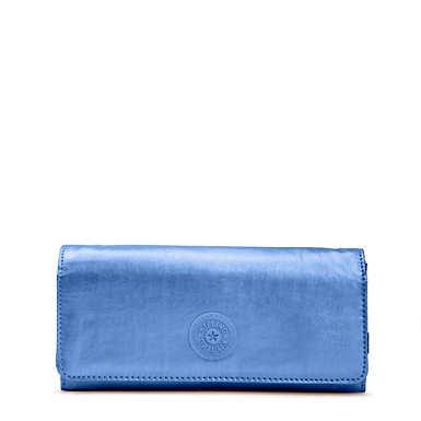 New Teddi Metallic Snap Wallet - Metallic Scuba Diver Blue