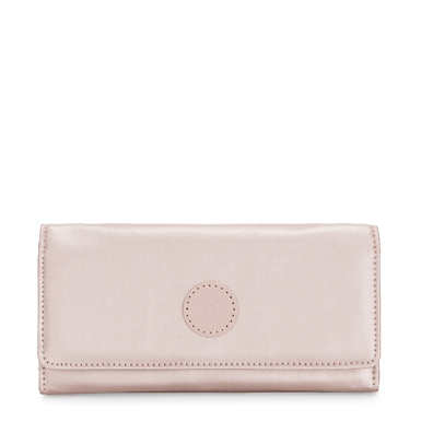 New Teddi Metallic Snap Wallet - Metallic Rose