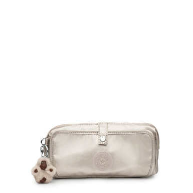 Wolfe Metallic Pencil Pouch - Cloud Grey Metallic