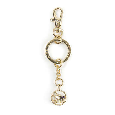 Circle Monkey Charm Keychain - Gold