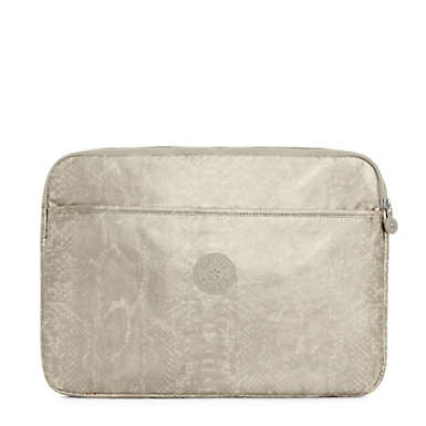 "15"" Metallic Laptop Sleeve - Silver Beige Snake"