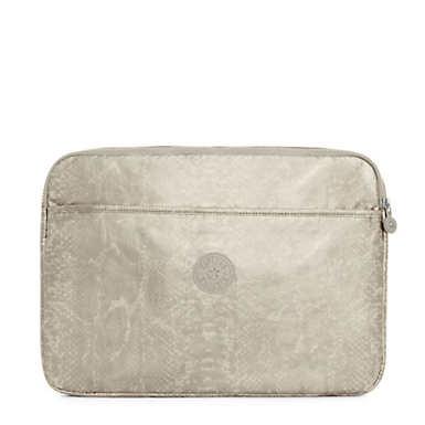 "15"" Metallic Laptop Sleeve - Silver Beige Snake"