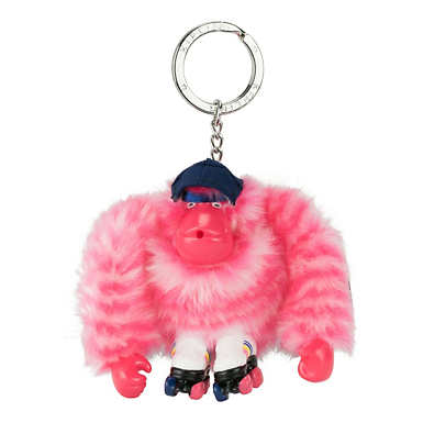 Monkey Keychain - Black Scallop Pink Combo