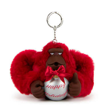 Happy Holiday's Monkey Keychain - Vibrant Pink