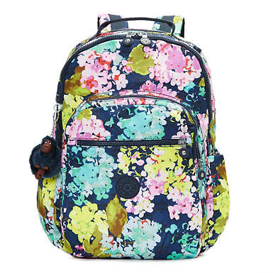 Seoul Extra Large Printed Laptop Backpack - Luscious Florals Blue