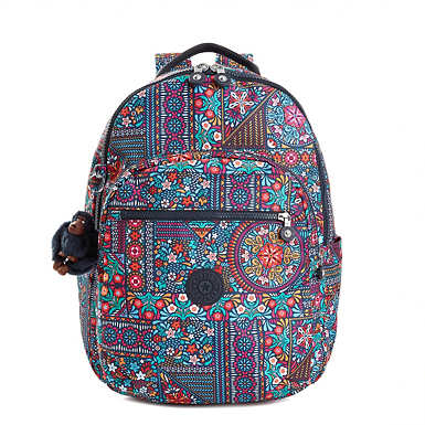 Seoul Large Printed Laptop Backpack - Dizzy Darling Multi