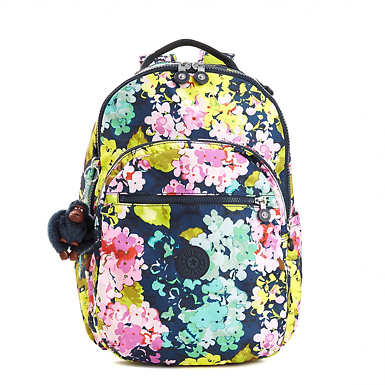Seoul Large Printed Laptop Backpack - Luscious Florals Blue