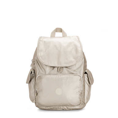 키플링 Kipling City Pack MediumMetallic Backpack,Cloud Metal
