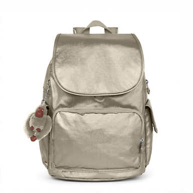 키플링 Kipling City PackMetallic Backpack,Metallic Pewter