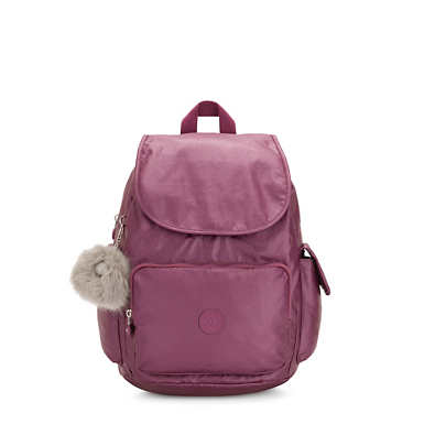 키플링 Kipling City Pack MediumMetallic Backpack,Fig Purple Metallic