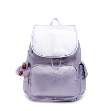 키플링 Kipling City PackMetallic Backpack,Frosted Lilac Metallic