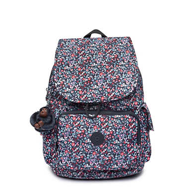 키플링 Kipling City PackPrinted Backpack,Glistening Poppy Blue