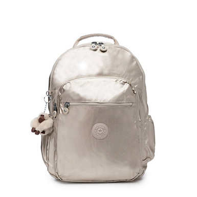 "Seoul Go Large Metallic 15"" Laptop Backpack - Cloud Grey Metallic"