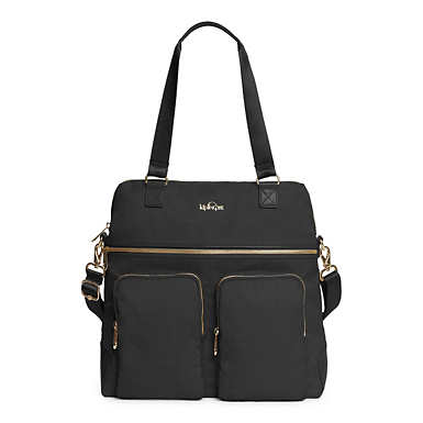 Camryn Laptop Handbag - Black Crosshatch
