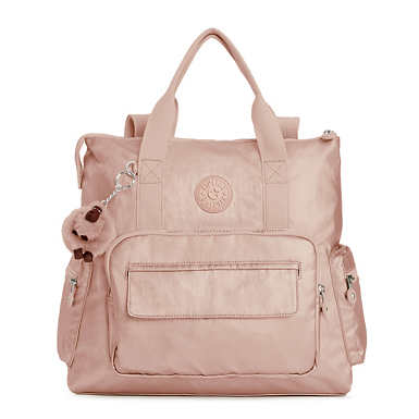 Alvy 2-in-1 Convertible Metallic Tote Bag Backpack - Rose Gold Metallic