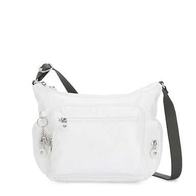 Gabbie Small Metallic Crossbody Bag - White Metallic
