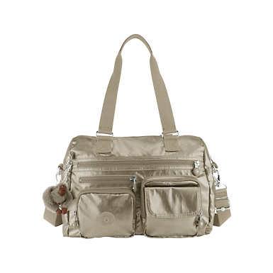 Mara Metallic Handbag - Metallic Pewter